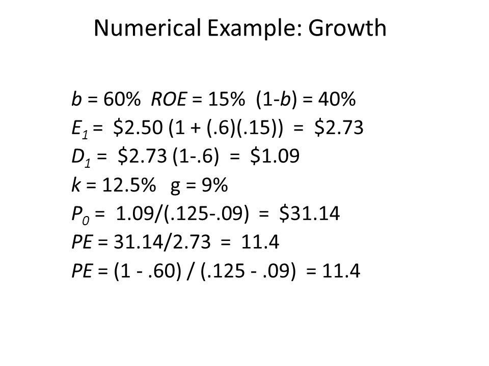 Numerical Example: Growth