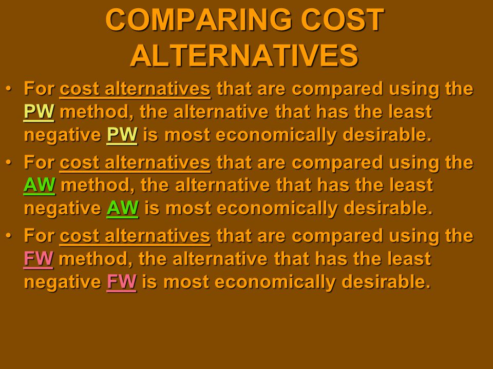 COMPARING COST ALTERNATIVES
