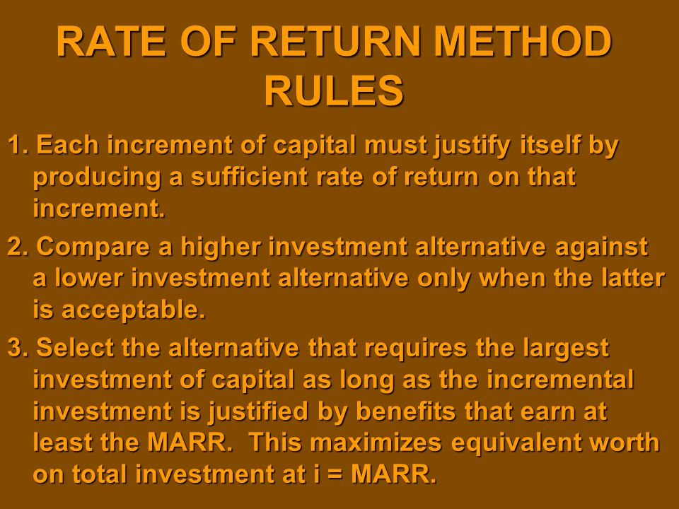 RATE OF RETURN METHOD RULES