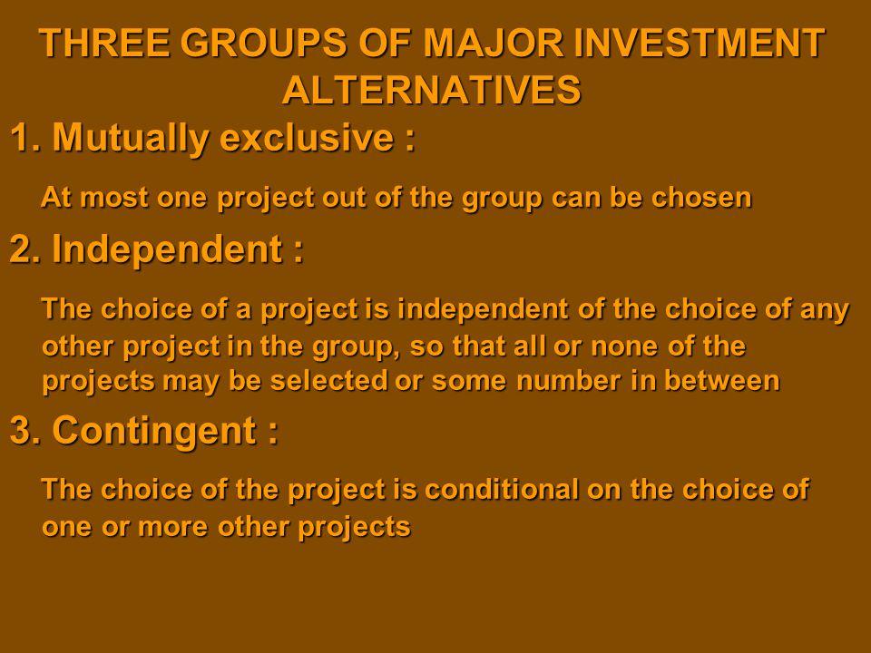 THREE GROUPS OF MAJOR INVESTMENT ALTERNATIVES
