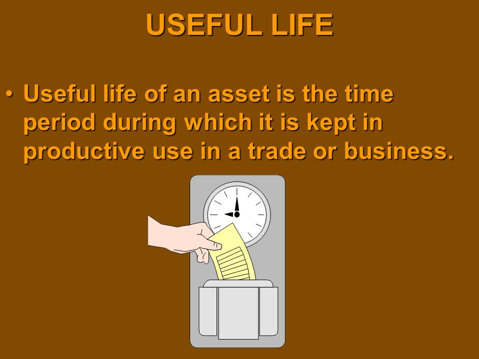 USEFUL LIFE Useful life of an asset is the time period during which it is kept in productive use in a trade or business.