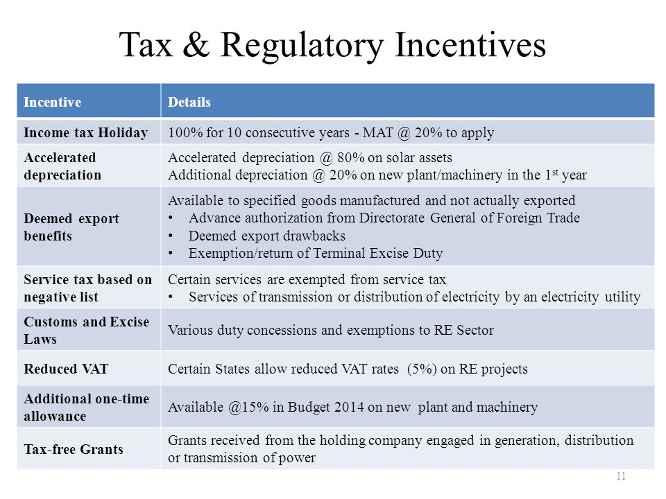 Tax & Regulatory Incentives