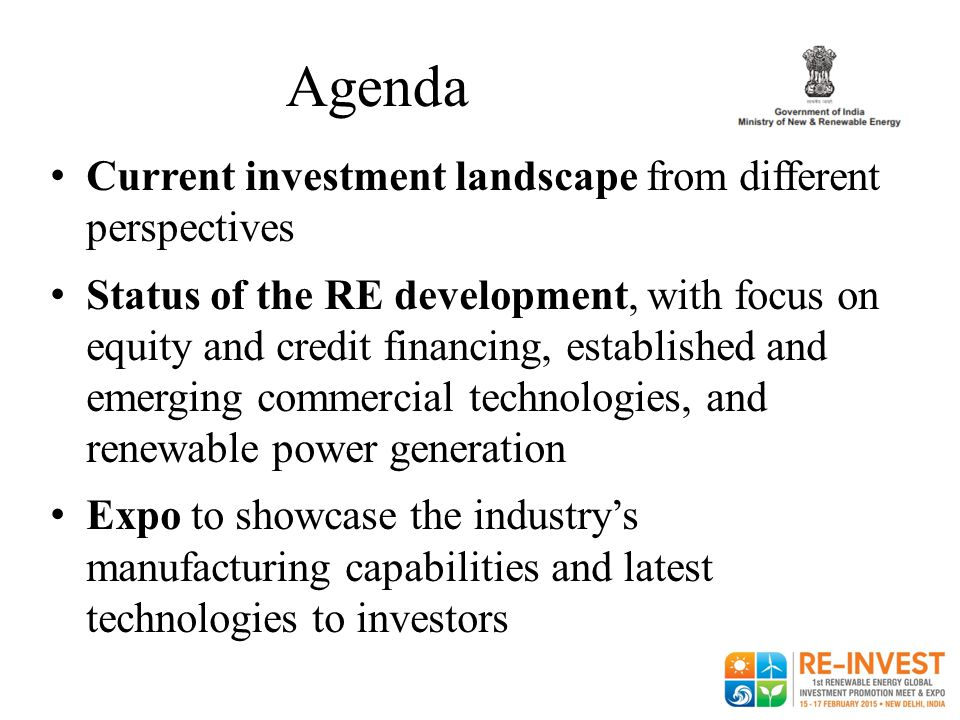 Agenda Current investment landscape from different perspectives