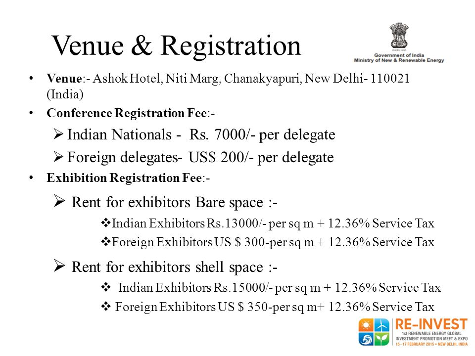 Venue & Registration Rent for exhibitors Bare space :-
