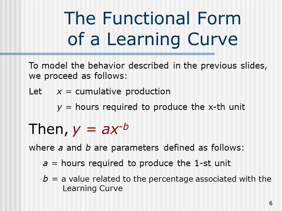 The Functional Form of a Learning Curve