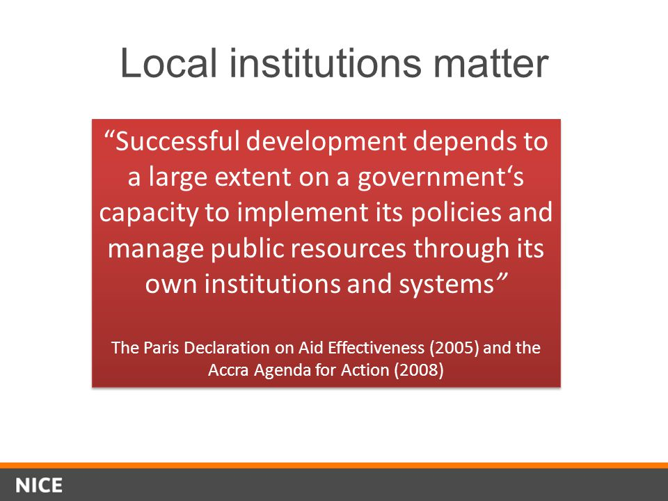 Local institutions matter