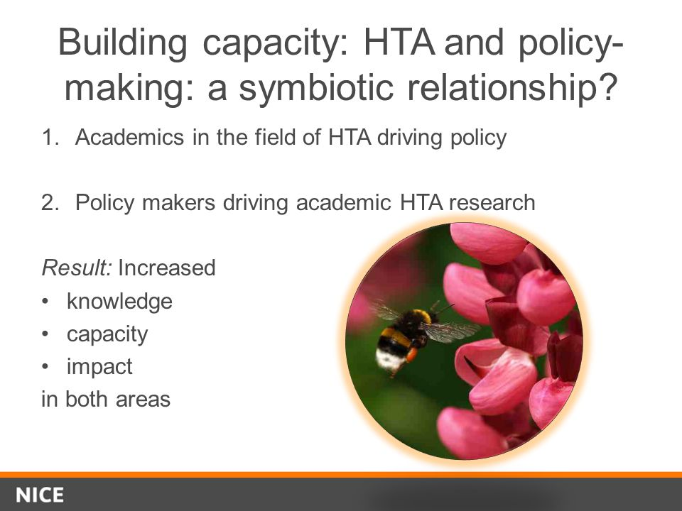 Building capacity: HTA and policy-making: a symbiotic relationship