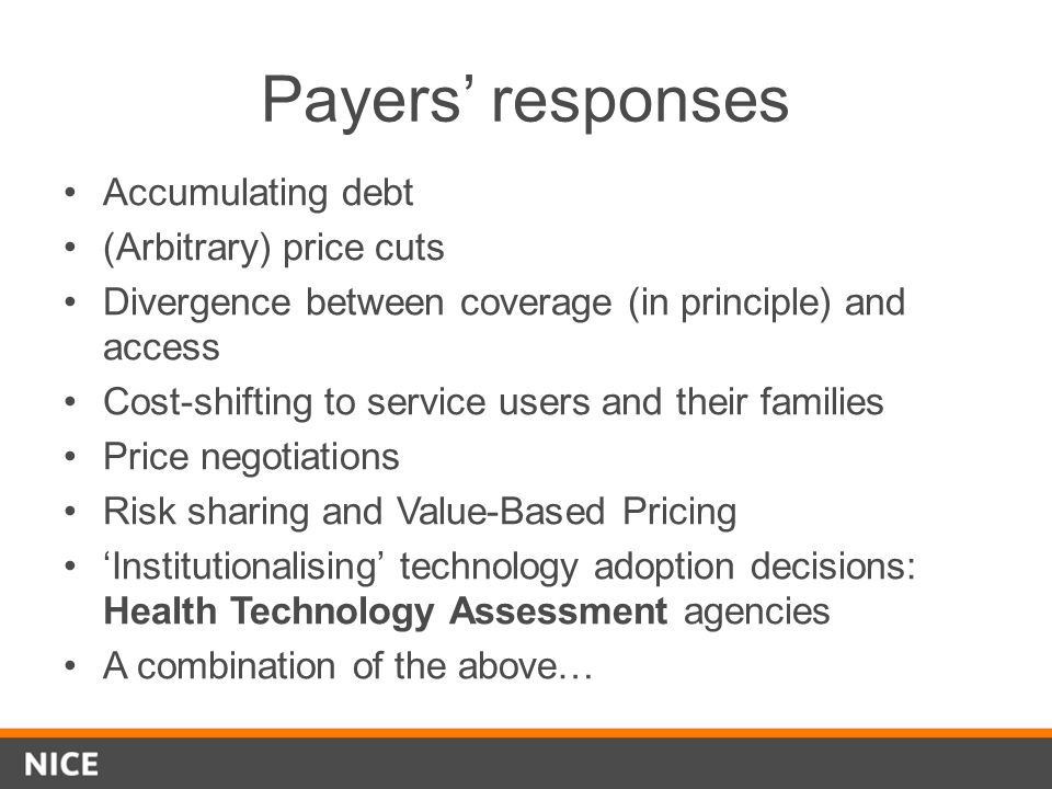 Payers' responses Accumulating debt (Arbitrary) price cuts