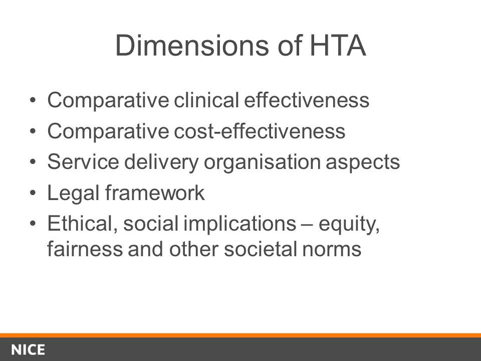 Dimensions of HTA Comparative clinical effectiveness
