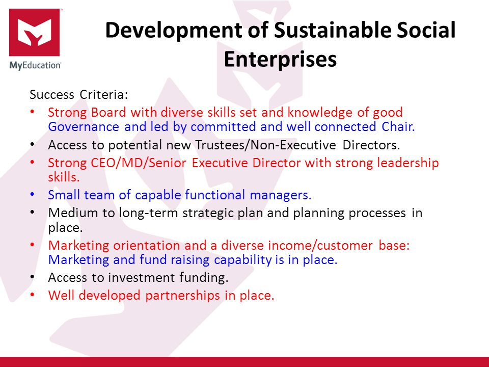 Development of Sustainable Social Enterprises