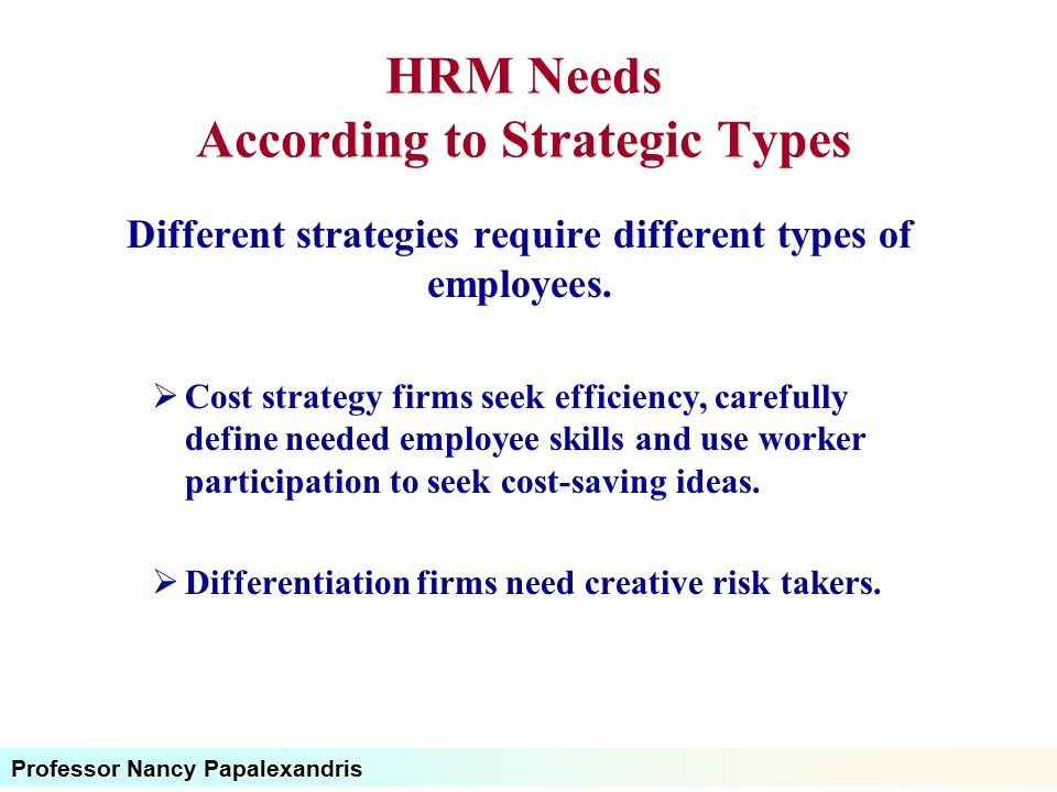 HRM Needs According to Strategic Types