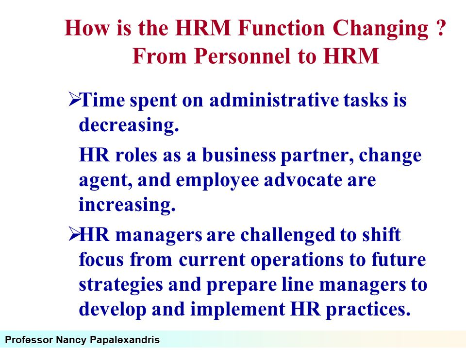 How is the HRM Function Changing From Personnel to HRM