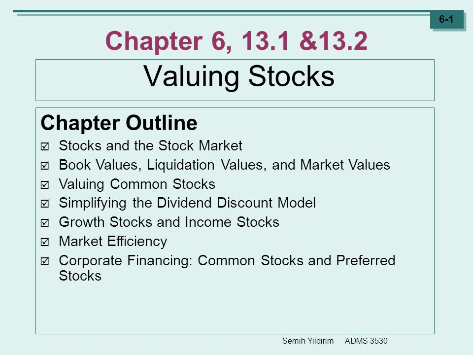 Chapter 6, 13.1 &13.2 Valuing Stocks Chapter Outline