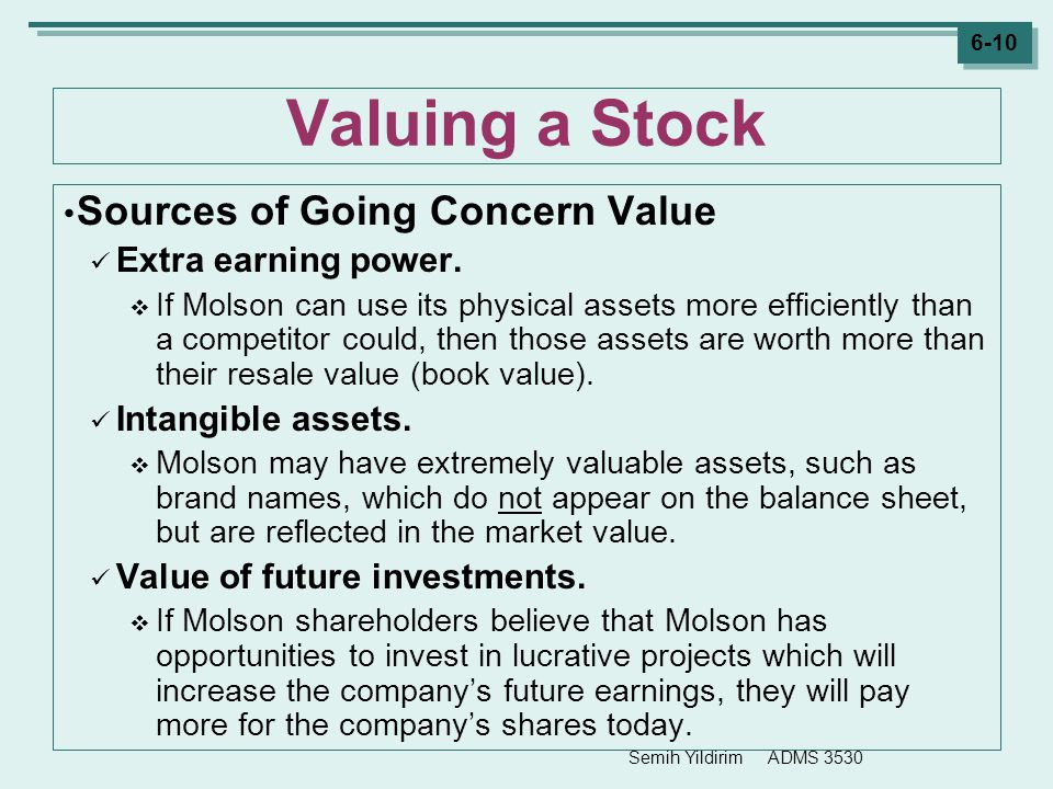 Valuing a Stock Sources of Going Concern Value Extra earning power.
