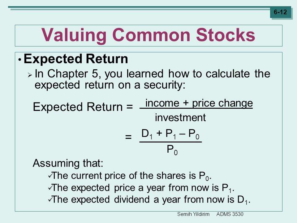Expected Return = income + price change