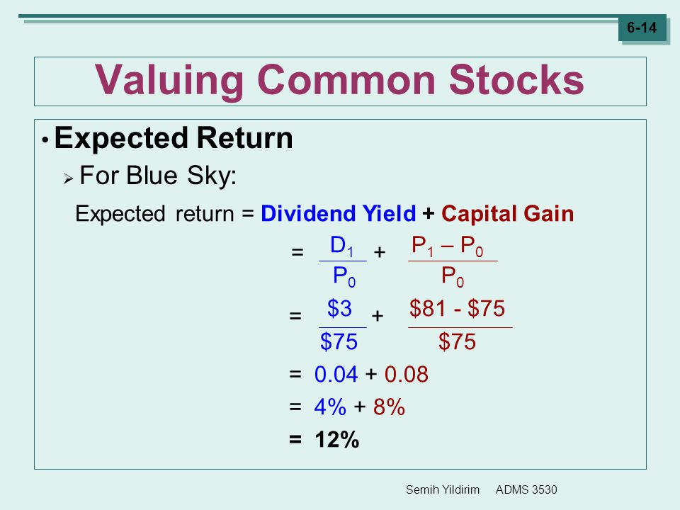 Valuing Common Stocks = $3 + $81 - $75 Expected Return For Blue Sky: