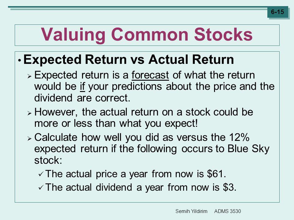 Valuing Common Stocks Expected Return vs Actual Return