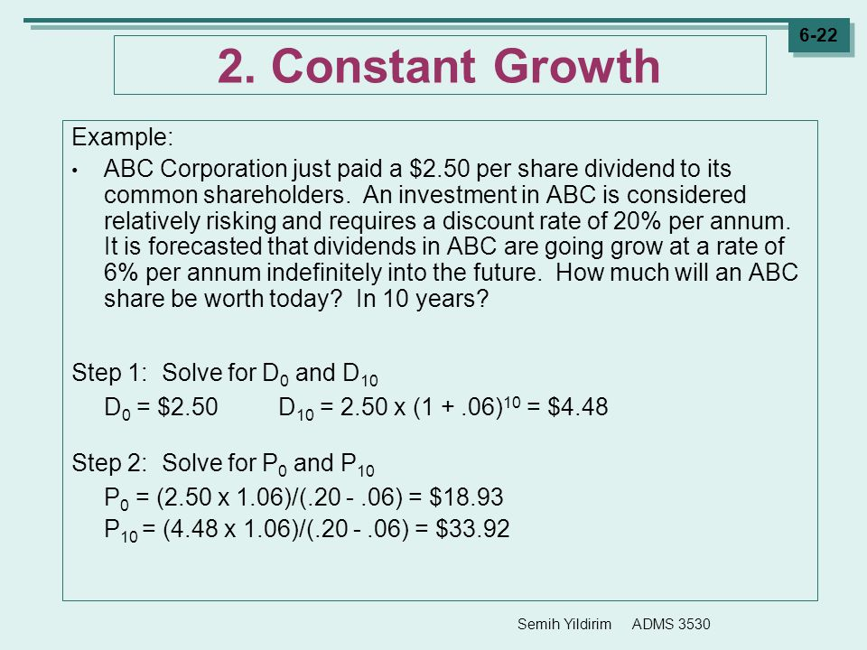2. Constant Growth Example: