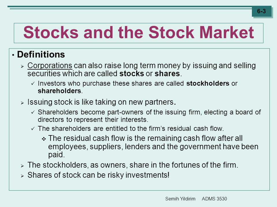 Stocks and the Stock Market