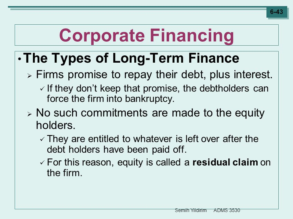 Corporate Financing The Types of Long-Term Finance