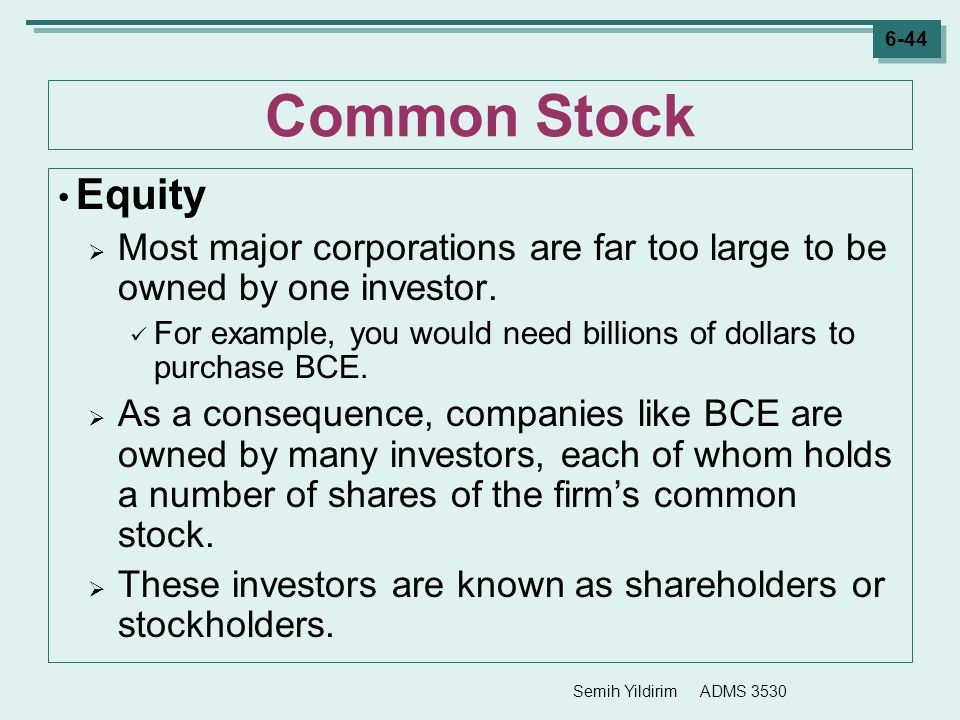 Common Stock Equity. Most major corporations are far too large to be owned by one investor.