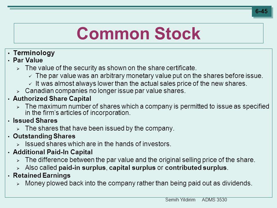 Common Stock Terminology Par Value