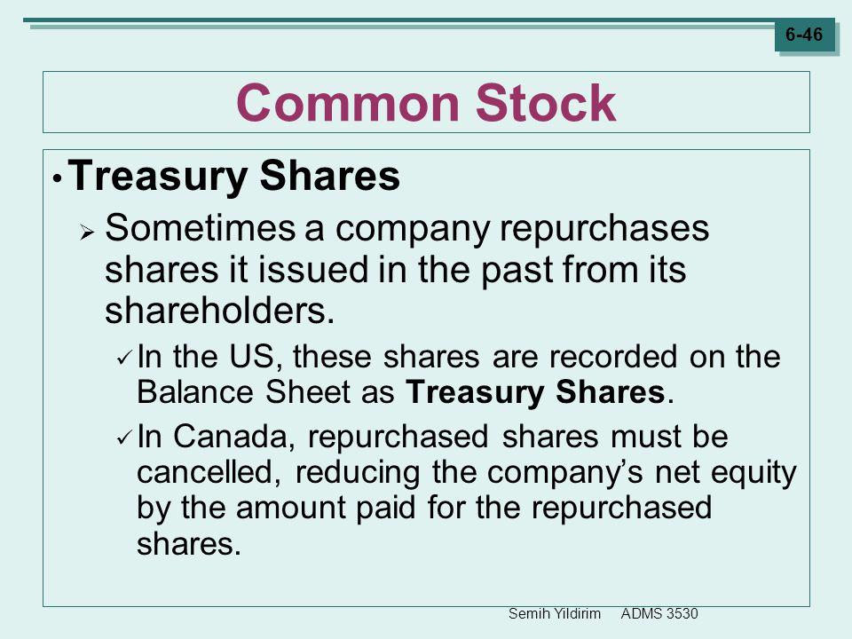 Common Stock Treasury Shares