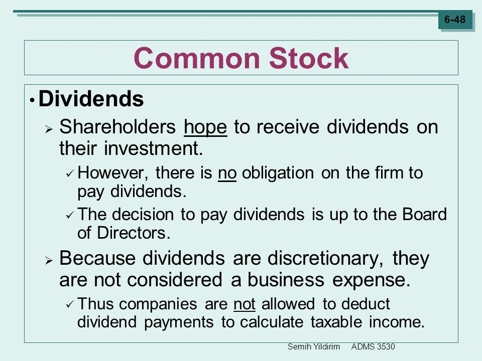 Common Stock Dividends