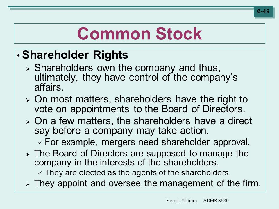 Common Stock Shareholder Rights