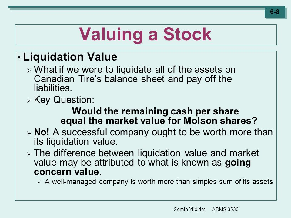 Valuing a Stock Liquidation Value
