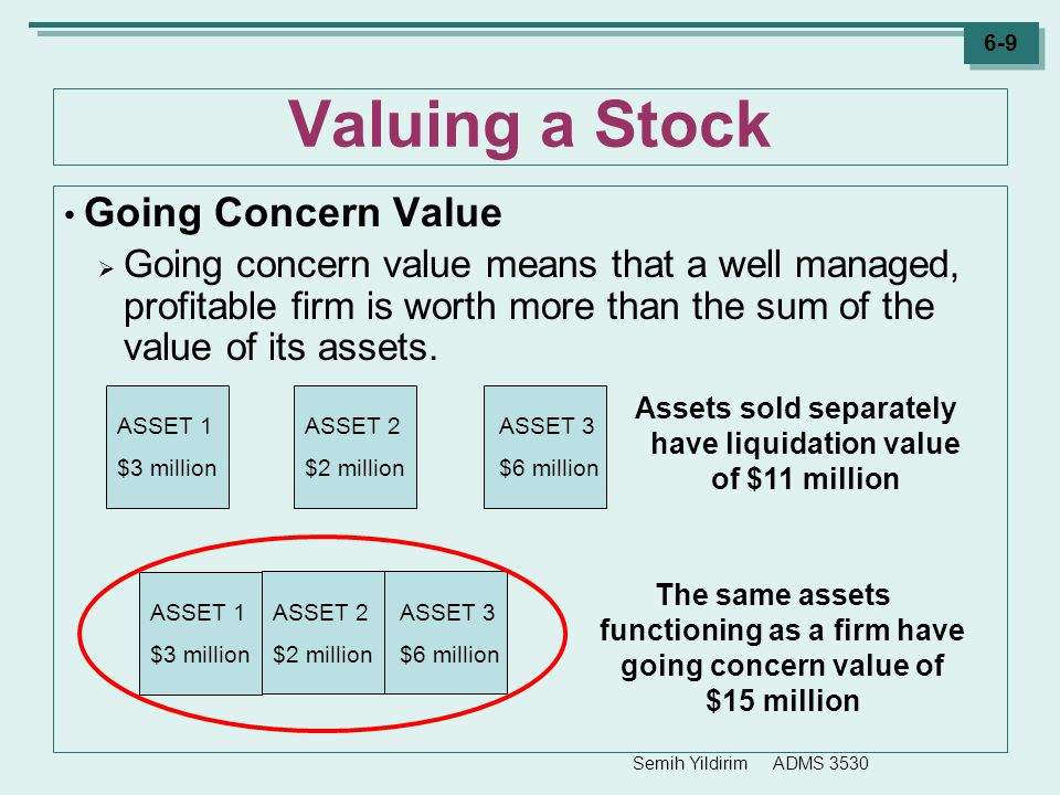 Assets sold separately have liquidation value of $11 million