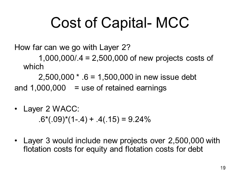Cost of Capital- MCC How far can we go with Layer 2
