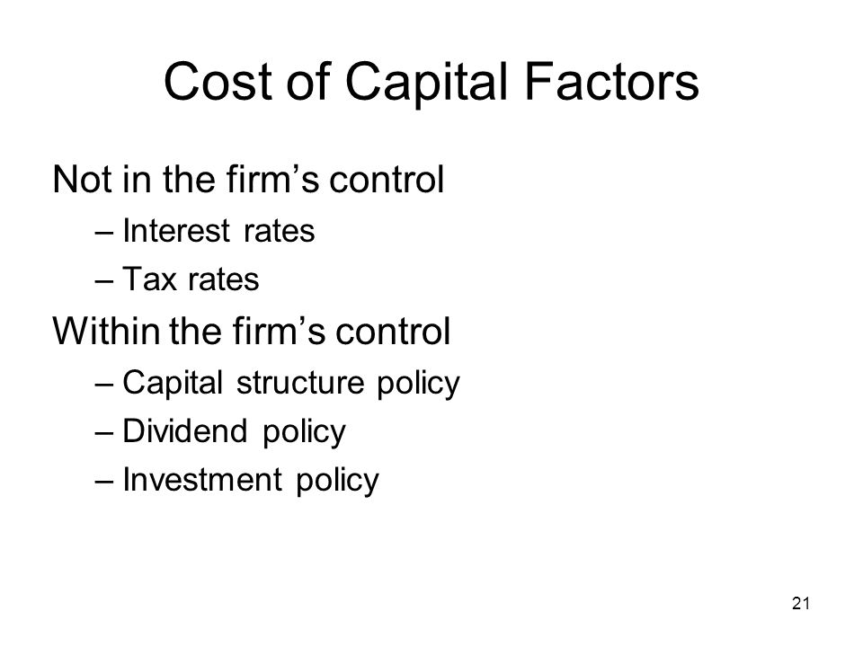 Cost of Capital Factors