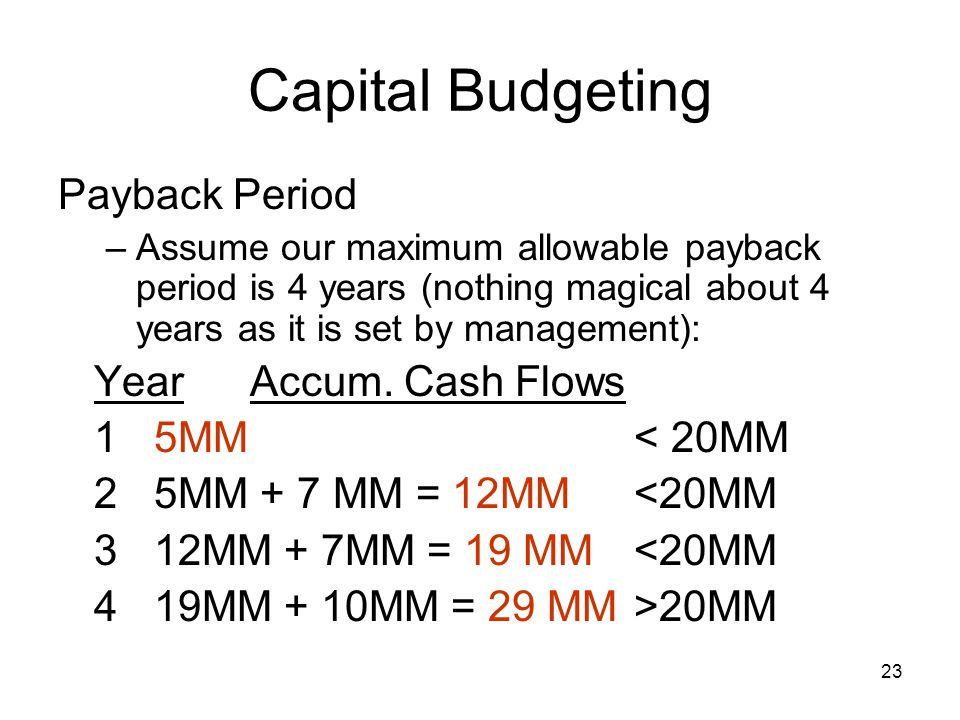 Capital Budgeting Payback Period Year Accum. Cash Flows