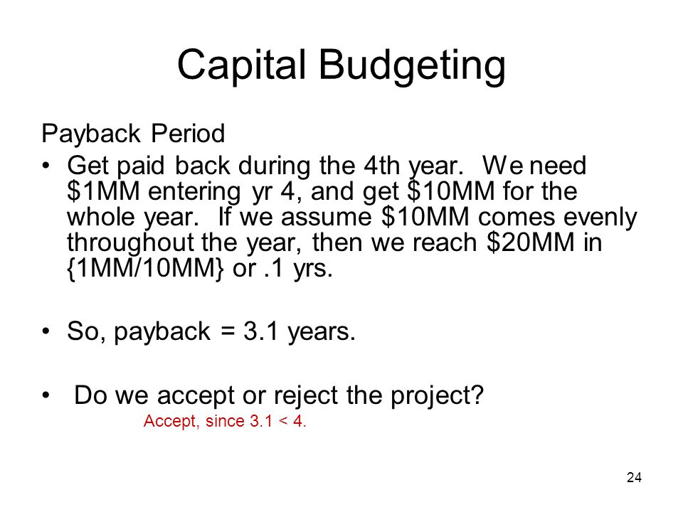 Capital Budgeting Payback Period