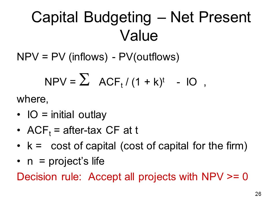 Capital Budgeting – Net Present Value