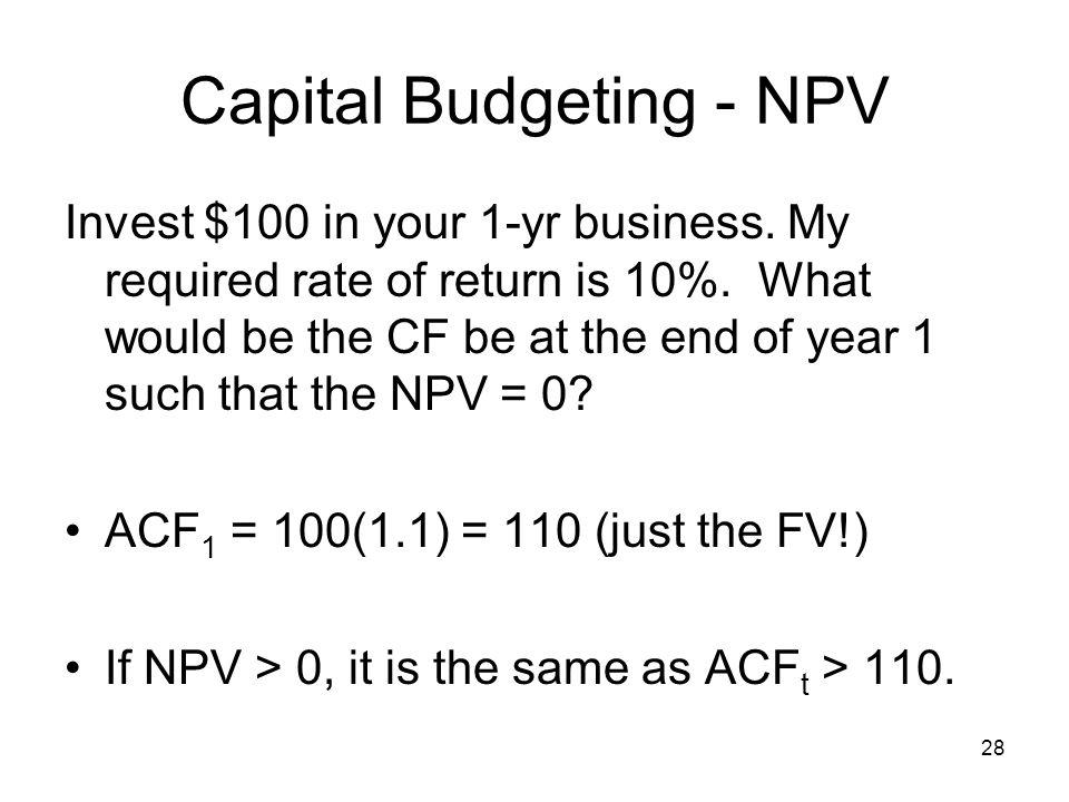 Capital Budgeting - NPV