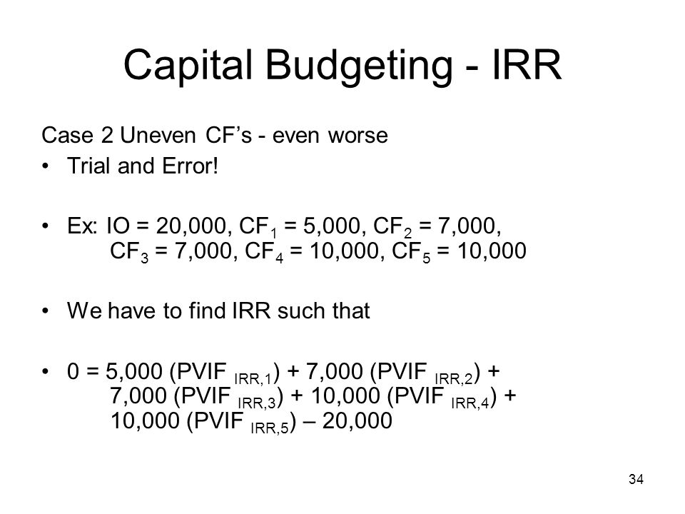 Capital Budgeting - IRR