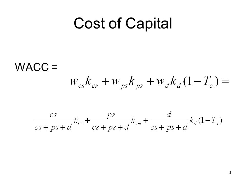 Cost of Capital WACC =