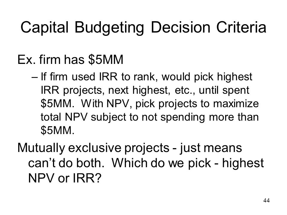 Capital Budgeting Decision Criteria