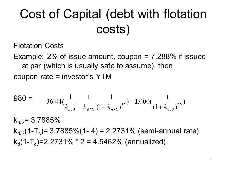 Cost of Capital (debt with flotation costs)