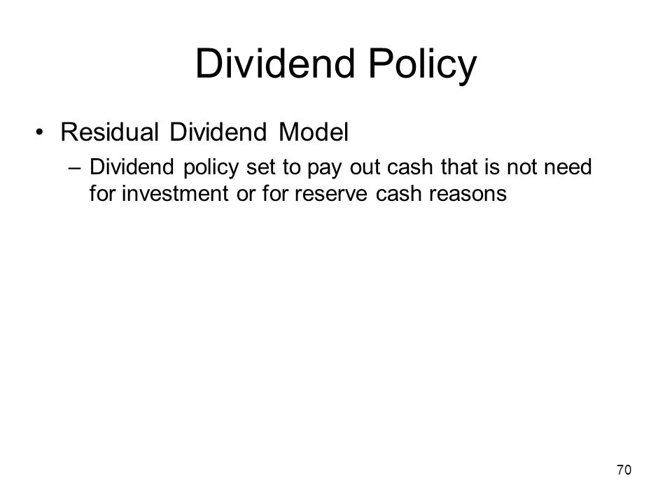 Dividend Policy Residual Dividend Model