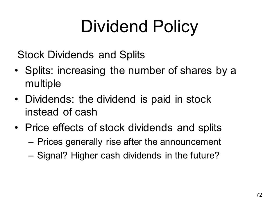Dividend Policy Stock Dividends and Splits