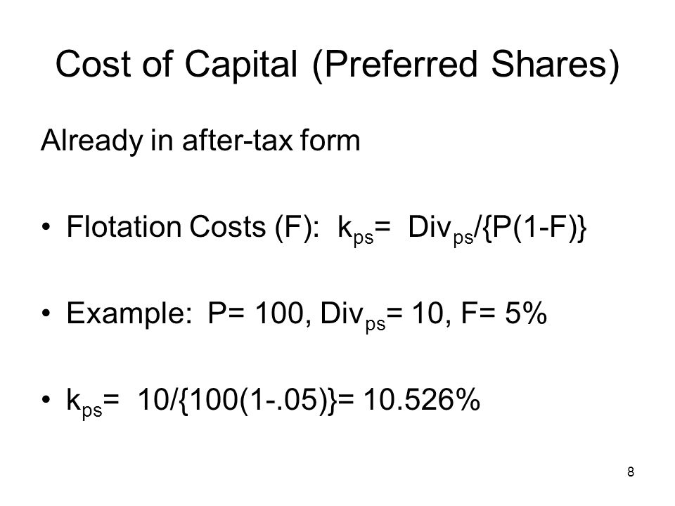 Cost of Capital (Preferred Shares)