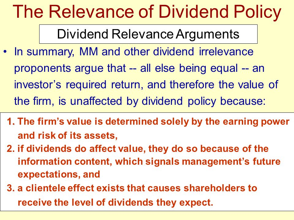 The Relevance of Dividend Policy