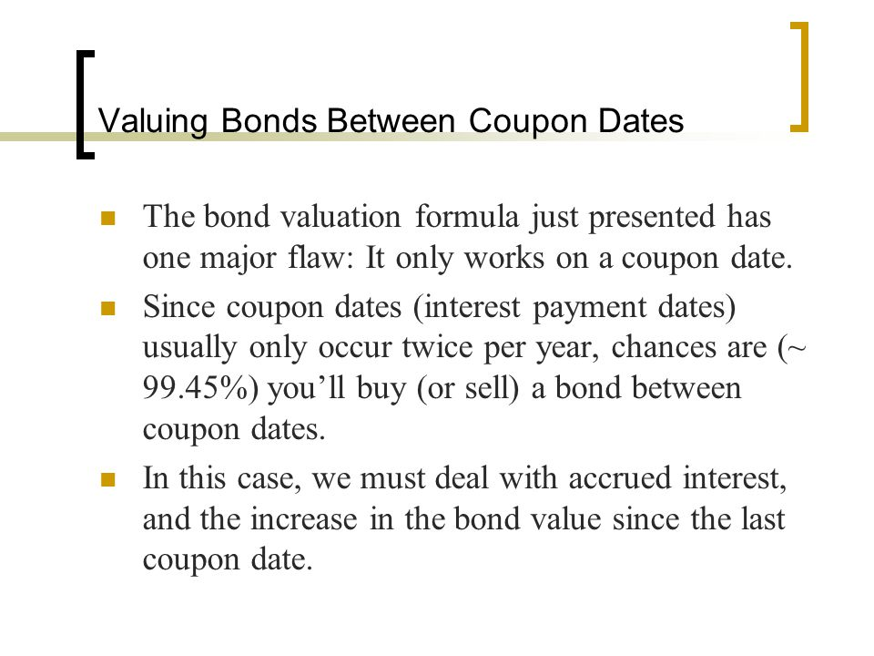 Valuing Bonds Between Coupon Dates