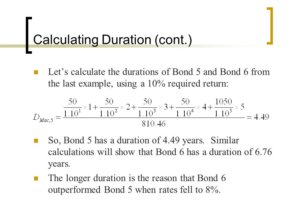 Calculating Duration (cont.)