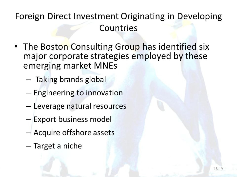 Foreign Direct Investment Originating in Developing Countries
