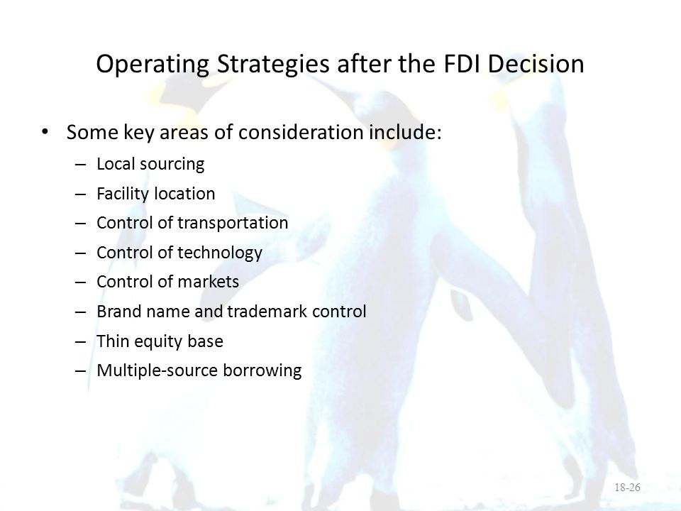 Operating Strategies after the FDI Decision