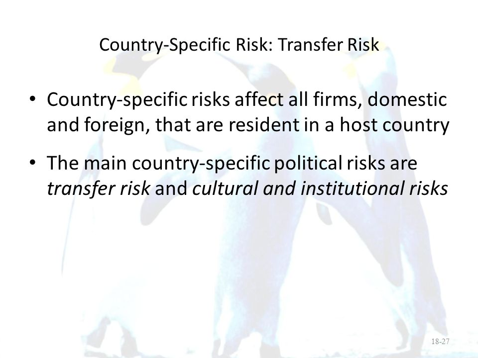 Country-Specific Risk: Transfer Risk
